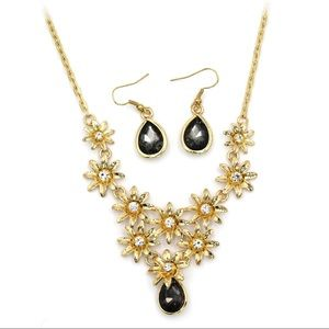 golden black flower crystal necklace earrings set